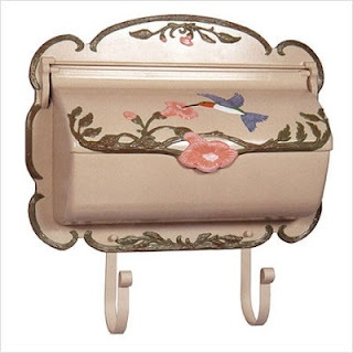 Love this vintage mailbox.  For postcard guest book.