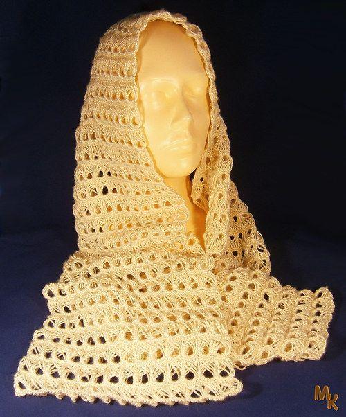 Háčkovaný šál - béžový
