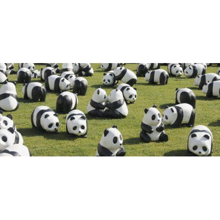 Paper made pandas from World Wildlife Federation at art exhibition Seoul City Hall Seoul South Korea Canvas Art - Panoramic Images (22 x 9)