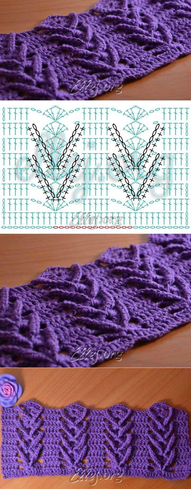 Узор Дельфиниум | Crochet by Ellej | Вязание крючком от Елены Кожухарь