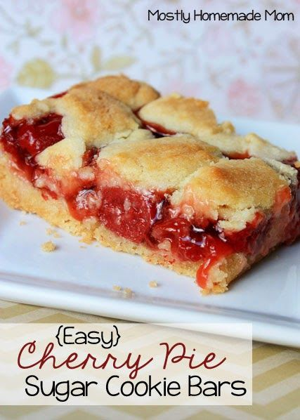 Sweet cherry pie filling between sugar cookie layers. Such an easy and pretty dessert!