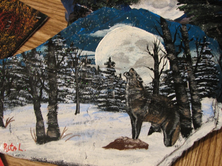 Rock Painting Rocks And Wolves On Pinterest