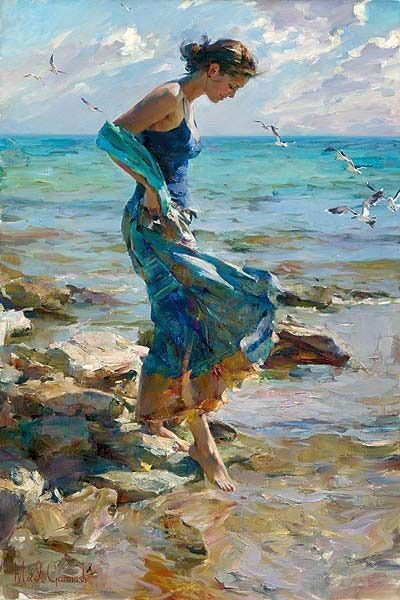 Very peaceful painting of lovely woman by the sea, both in shades of ocean blues. I can almost smell the air...