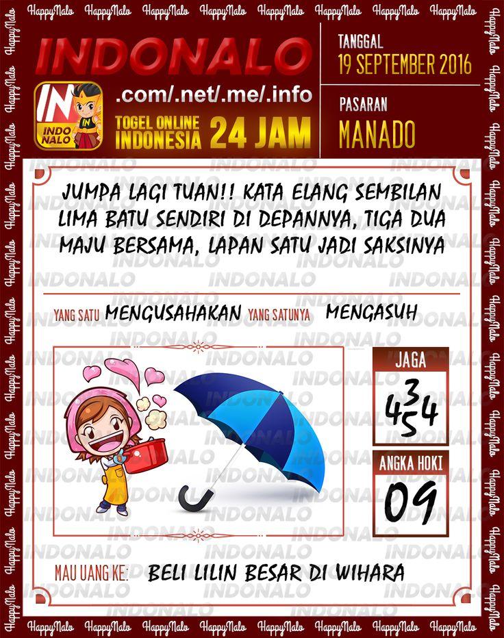 Angka Pakong Togel Wap Online Live Draw 4D Indonalo Manado 19 September 2016