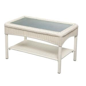 Charlottetown White All Weather Wicker Patio Coffee Table 65 609556/5 At. White  WickerMartha StewartHome ...