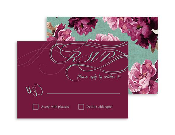 Printable RSVP card - Boho Vintage Floral wedding -Swirls and Twirls Flower - Burgundy, Marsala and Mint - 5x3.5 | Swirls and Floral by NicyaPrintables on Etsy