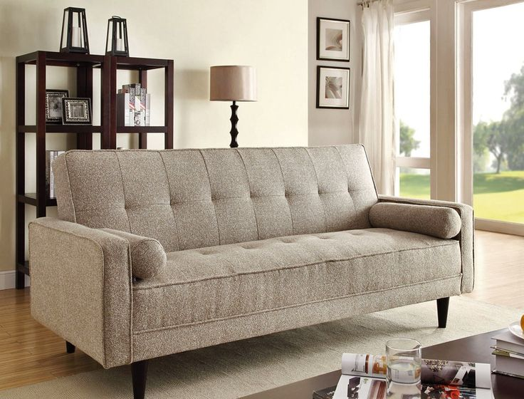 edana collection sand linen fabric upholstery convertible sleeper sofa with 2 throw pillows this sofa features a fold down back for a sleep area