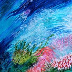 Paysage peinture fonds marins defi mars entre deux eaux  http://www.alittlemarket.com/boutique/lumeline-172298.html