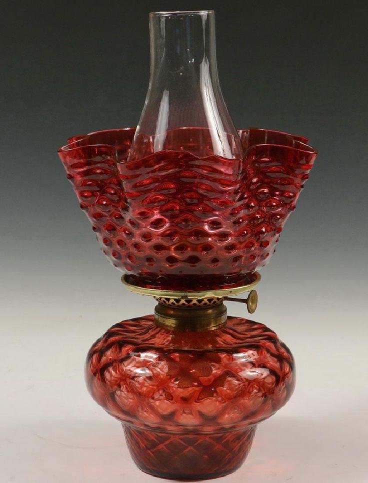 CRANBERRY GLASS LAMP