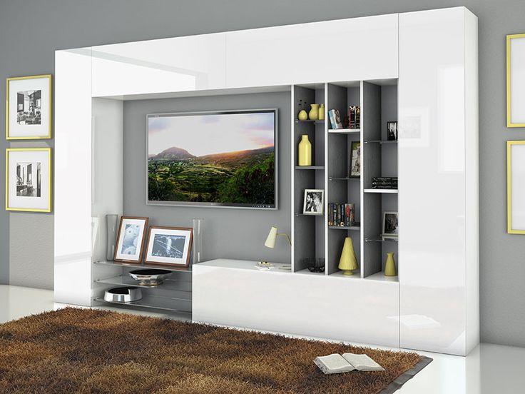 ensemble de meuble tv laqu blanc brillant et effet blanc marbr design pompei - Meuble Tv Blanc Glossy