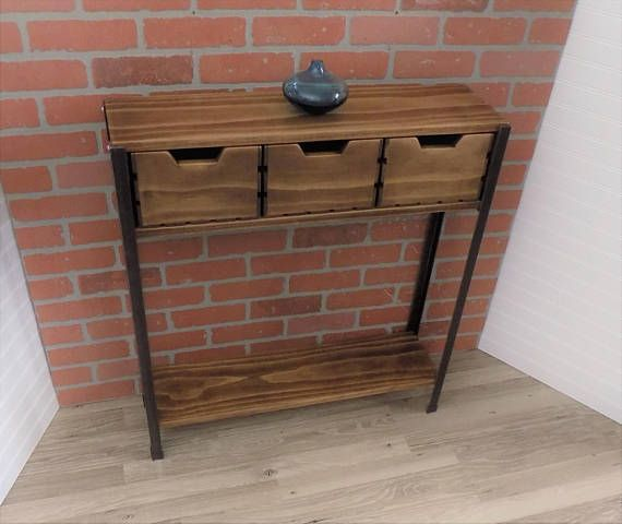 Console Table With Crate Drawers Skinny Narrow Entry