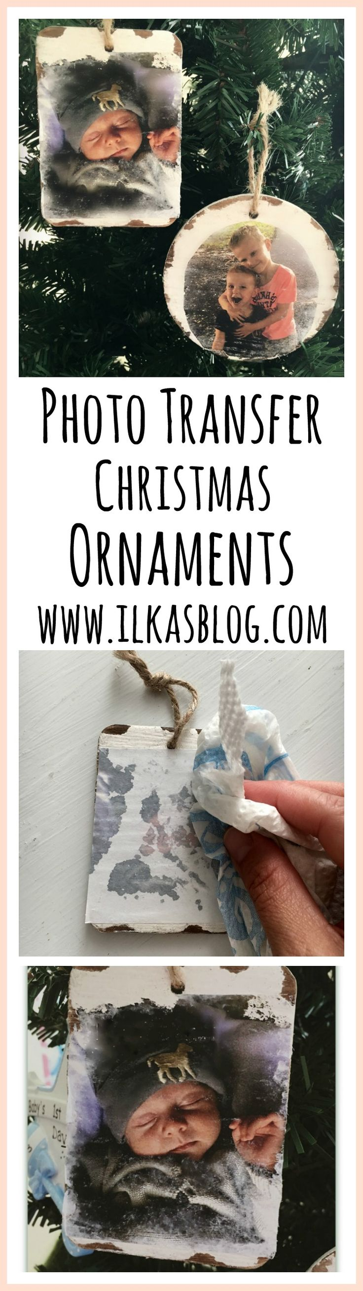 Photo Transfer Christmas Ornaments are a creative craft project for the holidays. Save your favorite pictures onto your ornaments. These DIY ornaments also make a wonderful gift idea! #craft #Christmas #DIY #photo #transfer #ornaments #holidayfun