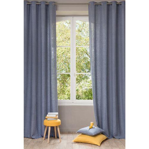 Ösenvorhang aus gewaschenem Leinen, 140 x 300 cm, gewitterblau