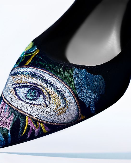 Escarpins de broderie multicolores, Christian Dior