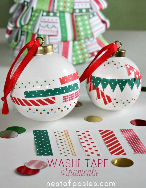 oh I love these!! Washi Tape Ornaments by @Kellie Dyne~Nest of Posies. So cute & simple to make.