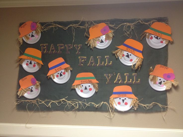 "I just created this bulletin board for my preschool class at Westhill Preschool! ""Happy Fall Yall!!!"""
