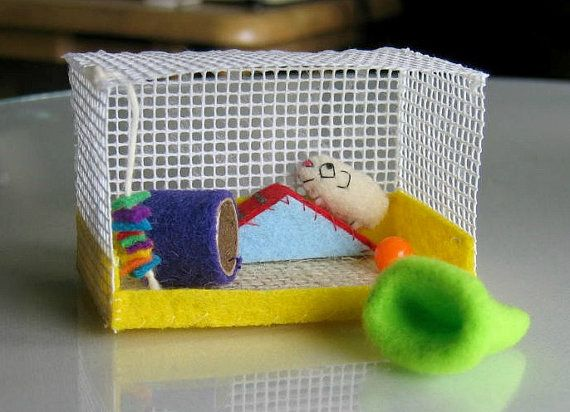 Guinea pig plush miniature playset wih cage -exercise ramp - tunnel - toy and snuggle bag