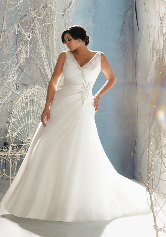 Crystal Beaded Fit And Flare Plus Size Wedding Gown 3142 Julietta By Madeline Gardner