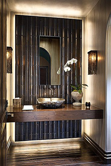 Powder Room - The mix of textures, finishes, materials  elements are all pulled together to create one stunning space.  Each detail is specific and the design concept is well conceived.    (re-pinned photo only from - Malgosia Design)