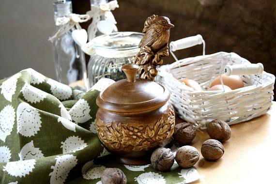 Kitchen Utensils Jar Poterry Gift Storage Wood Box Jug Spices