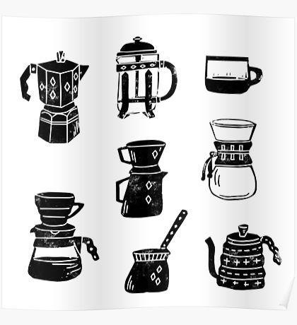 Cafeteras espresso linocut cafe blanco y negro minimal • Also buy this artwork on wall prints, apparel, phone cases y more.