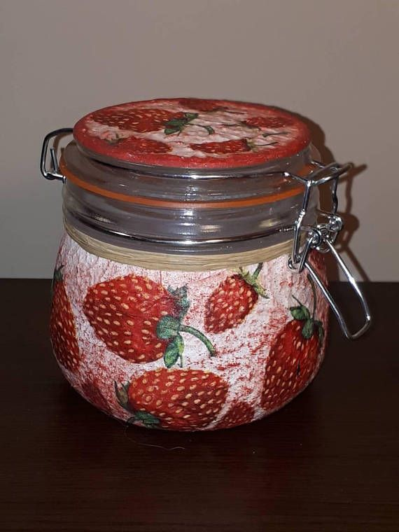 Check out this item in my Etsy shop https://www.etsy.com/listing/564952773/strawberry-kitchen-decor-canister-fruit