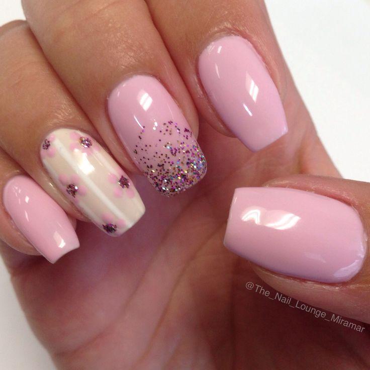 Rosa crema fiori strisce bianche polvere glitter