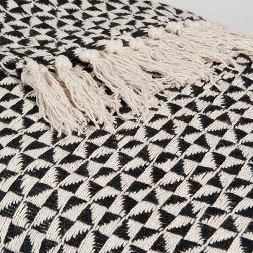 Jeté en coton noir/blanc 130 x 160 cm MAKASSAR