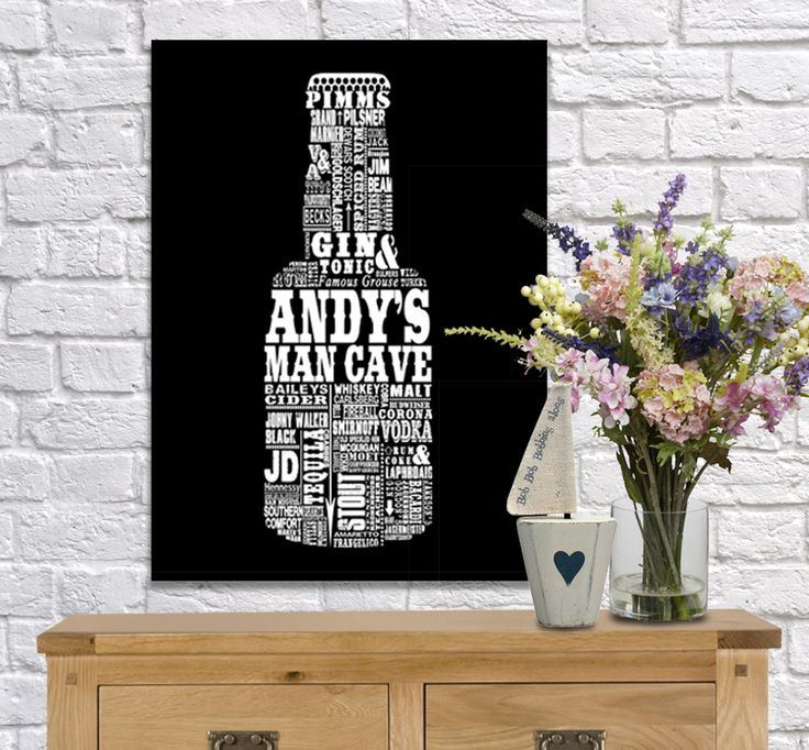 Black beer bottle man cave personalised word art canvas www.monkeyofthenorth.co.uk