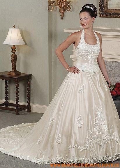 Modisches Brautkleid aus Satin A-Linie mit lange Schleppe