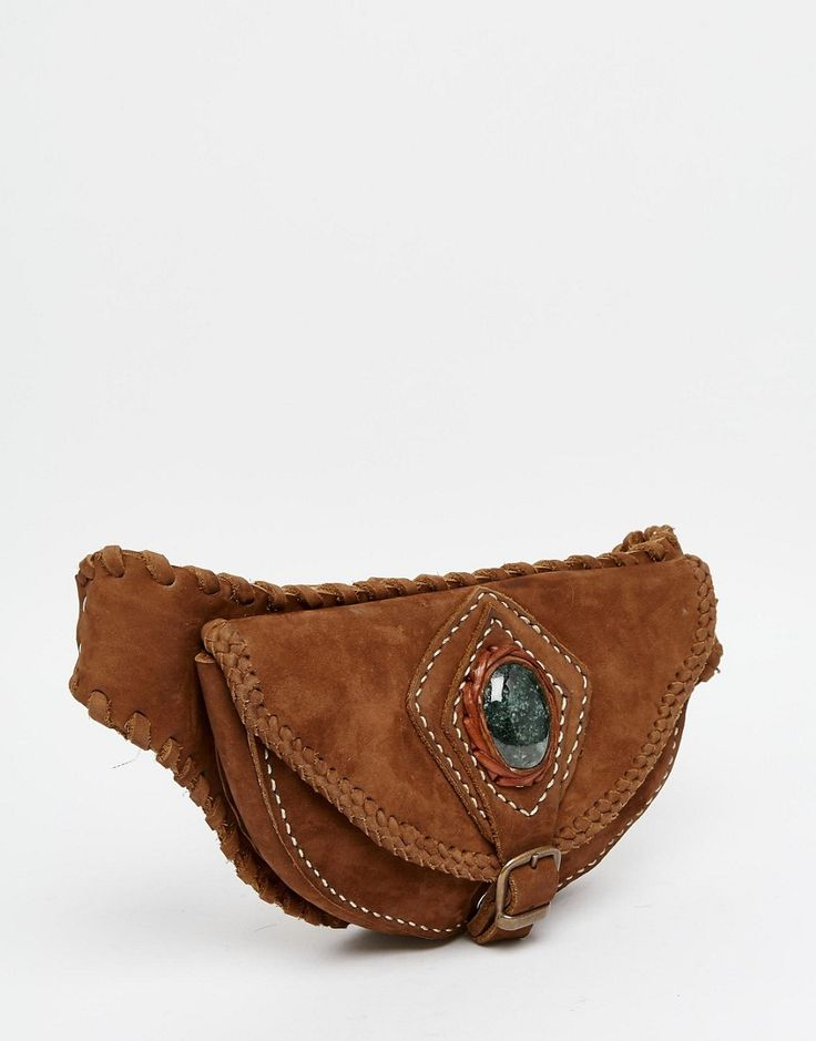Изображение 2 из Кожаная сумка-кошелек на пояс с полудрагоценным нефритом Hiptipico