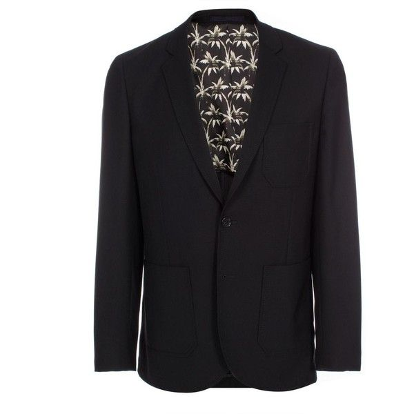 Paul Smith Men's Black Wool-Hopsack Patch-Pocket Jacket ($700) ❤ liked on Polyvore featuring men's fashion, men's clothing, men's outerwear and men's jackets