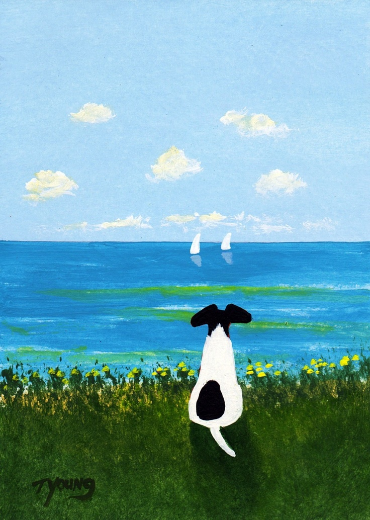 Smooth Fox Terrier dog art PRINT of Todd Young painting BEACH. $12.50, via Etsy.