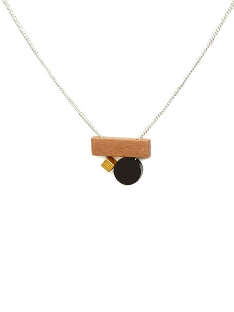 TURINA- PLAY-1.1B Sterling silver necklace (925) with pear wood, gold-plated brass and frosted acrylic glass. 45€ via turinajewellery.com