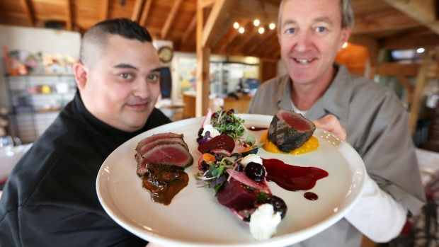 Twelve Trees restaurant head chefs Lawrence Purser, left, and Matt Gibson have created a venison dish for the 2015 Silver Fern Farms Supreme Awards.