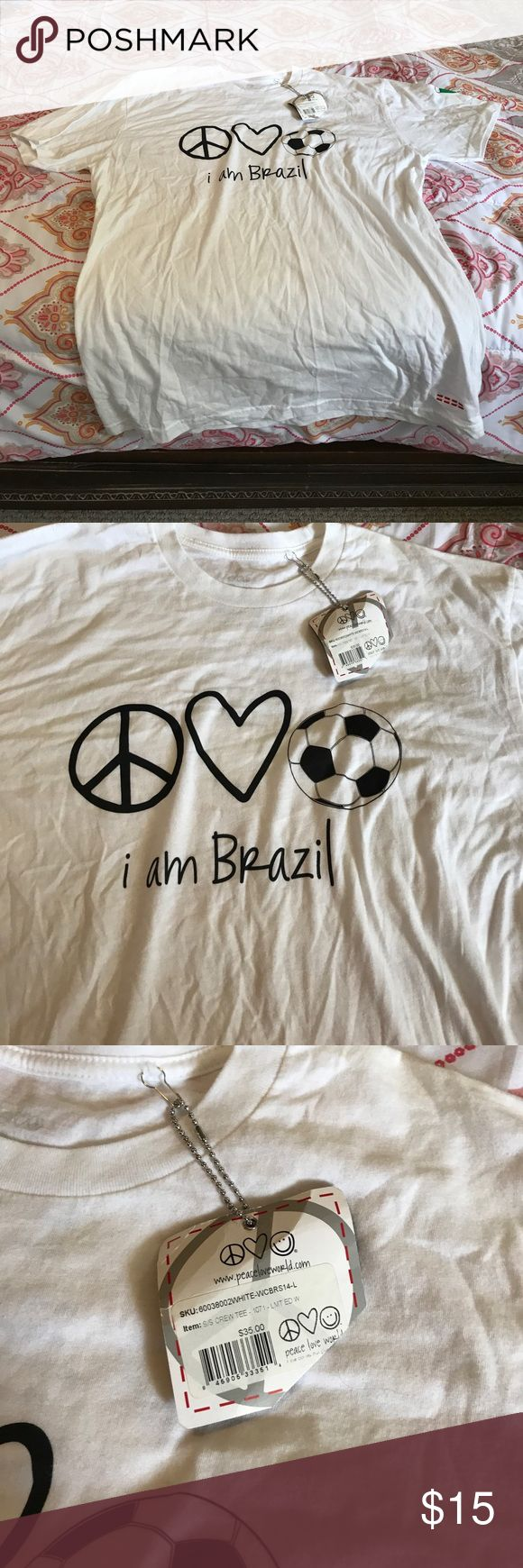 Peace Love World Brazil Tee in Large Never been used/worn PLW 'I AM BRAZIL' tee shirt in Woman's large Peace Love World Tops Tees - Short Sleeve