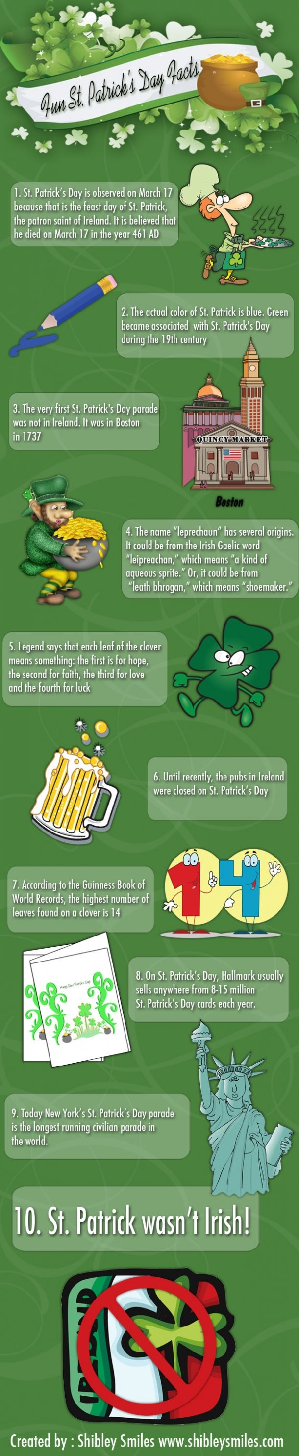 Fun St. Patrick's Day Facts [INFOGRAPHIC] love trivia facts about St Patricks Day since I was born on that day :)
