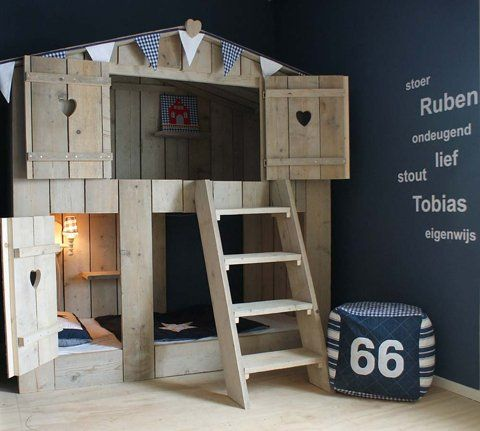 treehouse bed-Boys would love this! Minus the heart windows