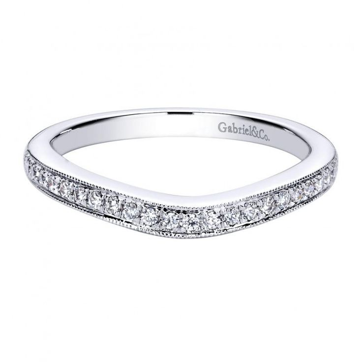 014 ct fg si diamond curved wedding band in 14k white