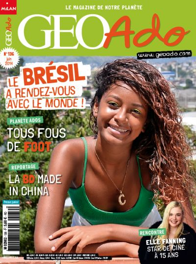 Géo Ado n°136 : Elle Fanning, ado et star de cinéma / Mondial de foot en 2014, Jeux olympiques en 2016 : tu n'as pas fini d'entendre parler du Brésil ! / Il s'appelle Benjamin, il est Chinois (si, si), c'est une star de la bande dessinée dans son pays / Louis-Marie Blanchard a passé des années auprès des Berbères du Haut-Atlas marocain./ Une galerie de portraits d'ados qui jouent au foot /Le carnet de voyage de Salomé en Asie du Sud-Est et en Océanie
