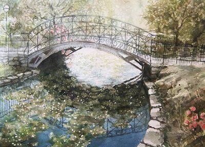 Bridge in a park in Bergen by Roald Grimsø