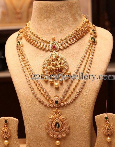 CZ Long Chain Polki Necklace