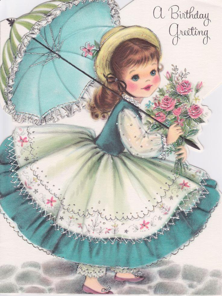 Винтажная открытка с днем рождения женщине картинки