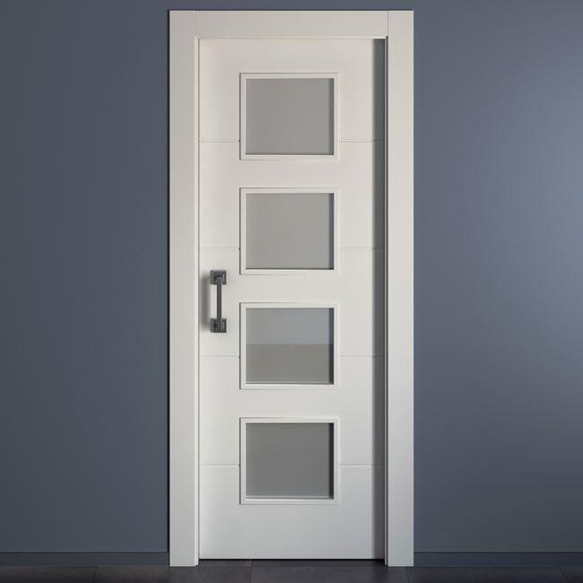 Puerta de interior con cristal HOLANDA BLANCA Ref. 15956514 - Leroy Merlin