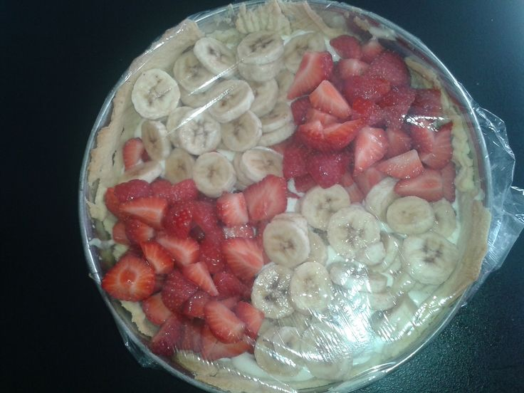 Aardbeien/Bananentaart