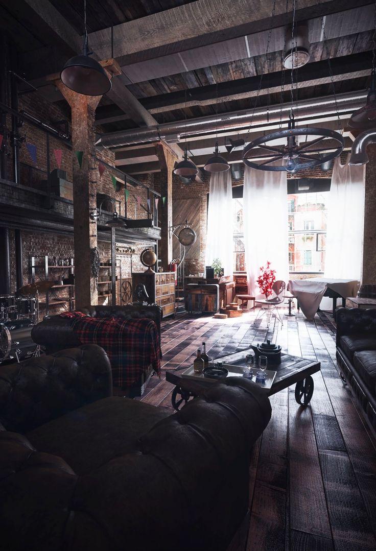 Loft-Wohnzimmer-Design mit moderner industrieller Art