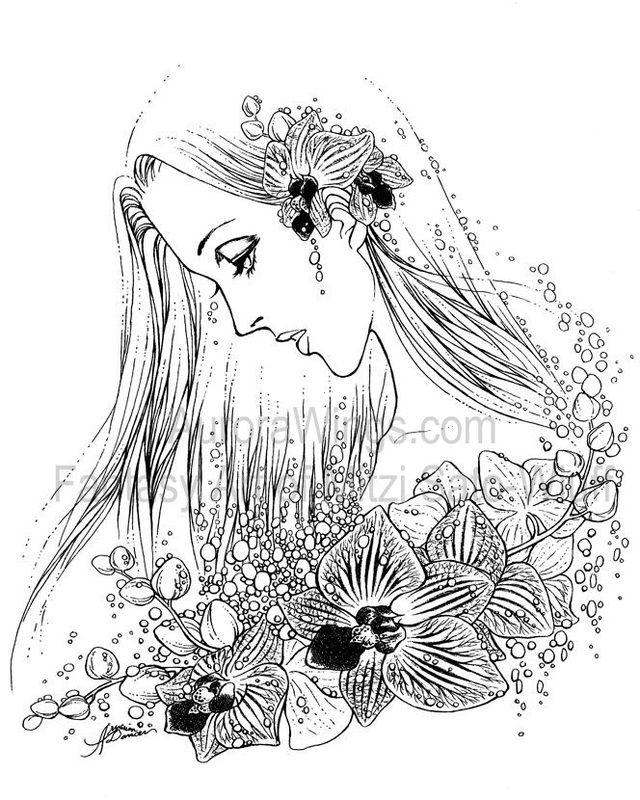 Artist Mitzi Sato-Wiuff Coloring Gracefull Flowers Amazing Coloring pages colouring adult detailed advanced printable Kleuren voor volwassenen coloriage pour adulte anti-stress kleurplaat voor volwassenen http://www.aurorawings.com/coloring-book-1.html