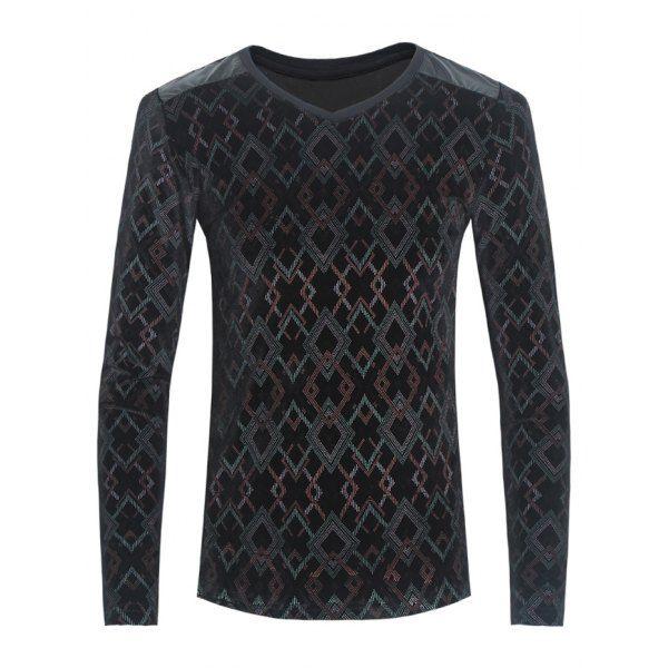 Argyle Print PU-Leather Spliced Velvet T-Shirt