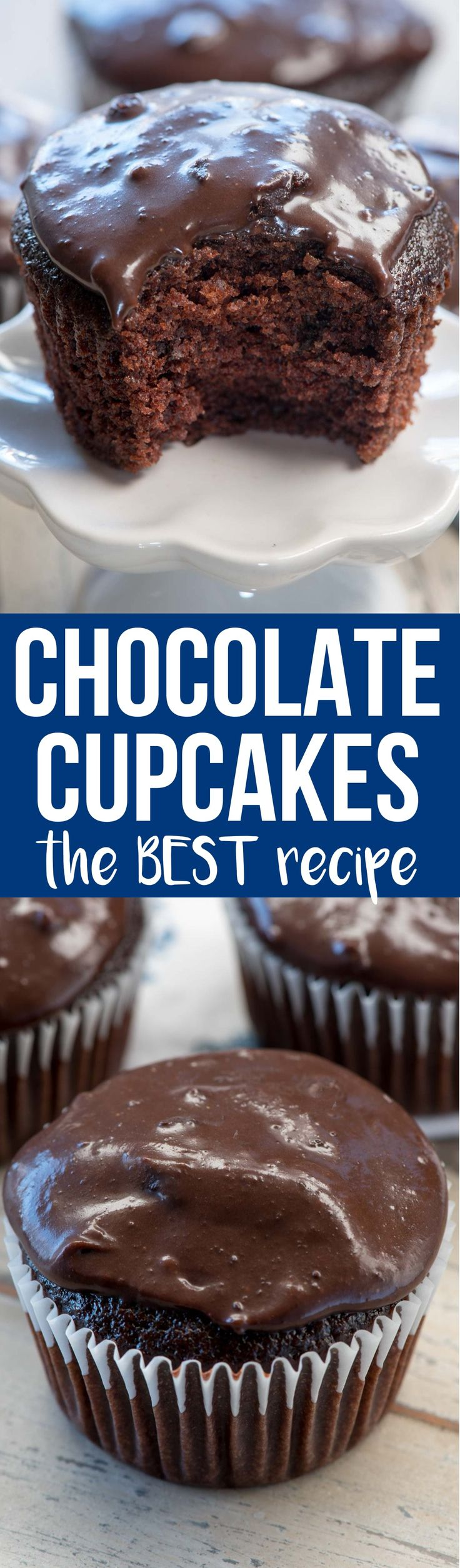 This is the BEST chocolate cupcake recipe I've ever eaten. It's moist and soft and the cooked chocolate frosting recipe is better than ganache! via @crazyforcrust