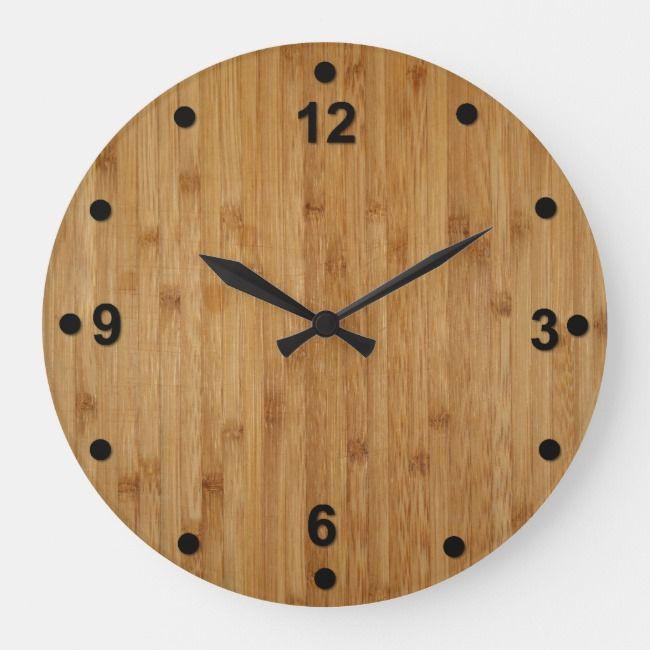 Rustic Bamboo Wood Look Clock Zazzle Com Wooden Clock Wood Clocks Woodworking Plans Clocks